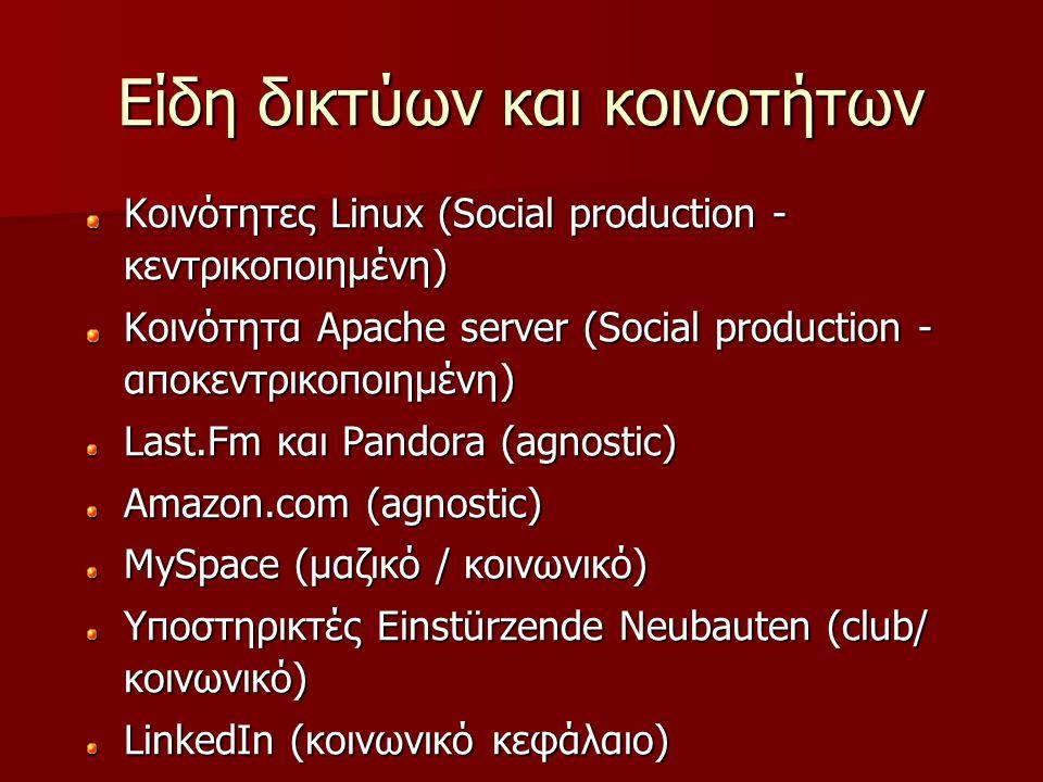 Είδη δικτύων και κοινοτήτων Κοινότητες Linux (Social production - κεντρικοποιημένη) Κοινότητα Apache server (Social production - αποκεντρικοποιημένη)