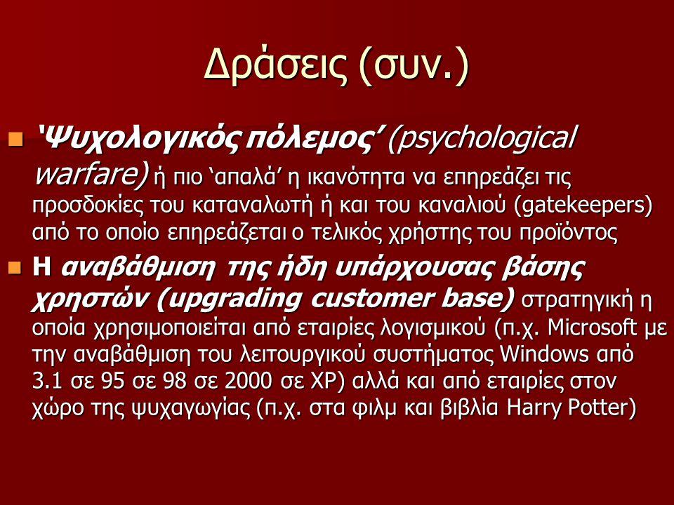 Δράσεις (συν.)  'Ψυχολογικός πόλεμος' (psychological warfare) ή πιο 'απαλά' η ικανότητα να επηρεάζει τις προσδοκίες του καταναλωτή ή και του καναλιο