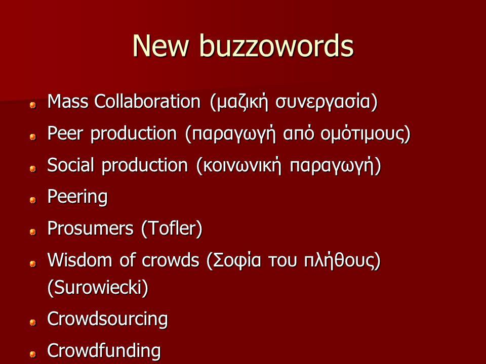 New buzzowords Mass Collaboration (μαζική συνεργασία) Peer production (παραγωγή από ομότιμους) Social production (κοινωνική παραγωγή) Peering Prosume