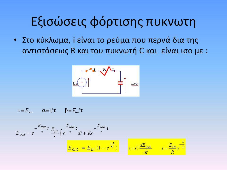 Εξισώσεις φόρτισης πυκνωτη • Στο κύκλωμα, i είναι το ρεύμα που περνά δια της αντιστάσεως R και του πυκνωτή C και είναι ισο με :