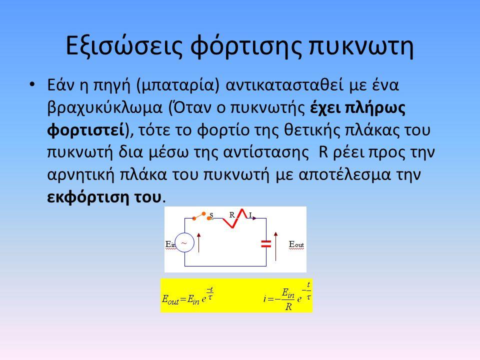 Εξισώσεις φόρτισης πυκνωτη • Εάν η πηγή (μπαταρία) αντικατασταθεί με ένα βραχυκύκλωμα (Όταν ο πυκνωτής έχει πλήρως φορτιστεί), τότε το φορτίο της θετι