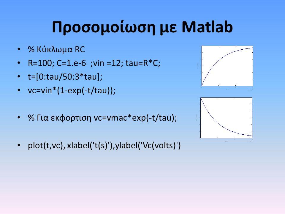 Προσομοίωση με Matlab • % Κύκλωμα RC • R=100; C=1.e-6 ;vin =12; tau=R*C; • t=[0:tau/50:3*tau]; • vc=vin*(1-exp(-t/tau)); • % Για εκφορτιση vc=vmac*exp(-t/tau); • plot(t,vc), xlabel( t(s) ),ylabel( Vc(volts) )