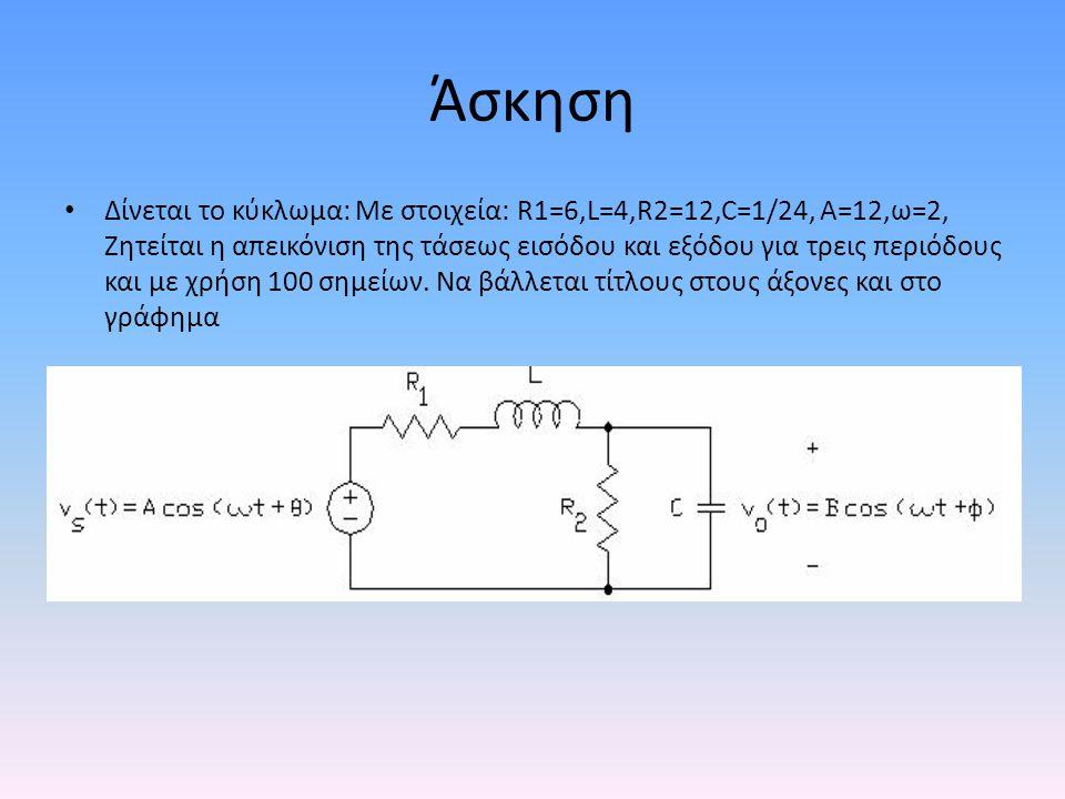 Άσκηση • Δίνεται το κύκλωμα: Με στοιχεία: R1=6,L=4,R2=12,C=1/24, Α=12,ω=2, Ζητείται η απεικόνιση της τάσεως εισόδου και εξόδου για τρεις περιόδους και