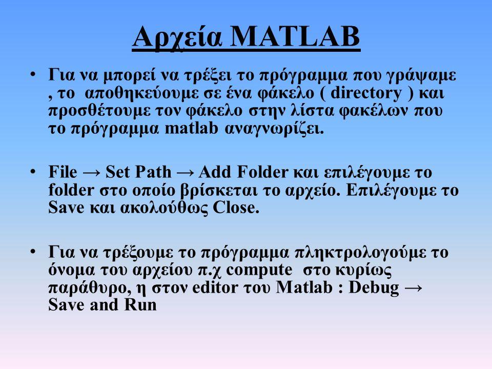 Αρχεία MATLAB • Για να μπορεί να τρέξει το πρόγραμμα που γράψαμε, το αποθηκεύουμε σε ένα φάκελο ( directory ) και προσθέτουμε τον φάκελο στην λίστα φα