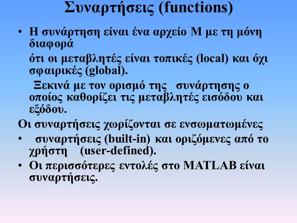 Συναρτήσεις (functions) • Τρόπος σύνταξης: • function [out1, out2, …] = function_name(in1, in2, …); Μεταβλητές εξόδου (αν δεν υπάρχουν, τότε μπορεί να μην χρησιμοποιηθούν οι αγκύλες) Το όνομα της συνάρτησης (πρέπει απαραιτήτως το αρχείο να ονομαστεί με το ίδιο ακριβώς όνομα) Κωδική λέξη (απαραίτητη)