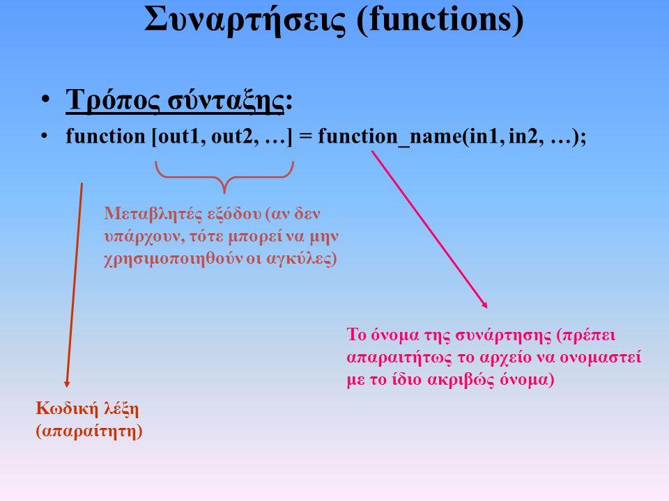 Συναρτήσεις (functions) • Τρόπος σύνταξης: • function [out1, out2, …] = function_name(in1, in2, …); Μεταβλητές εξόδου (αν δεν υπάρχουν, τότε μπορεί να