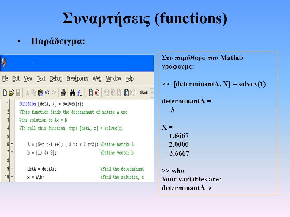 Συναρτήσεις (functions) • Παράδειγμα: Στο παράθυρο του Matlab γράφουμε: >> [determinantA, Χ] = solvex(1) determinantA = 3 Χ = 1.6667 2.0000 -3.6667 >> who Your variables are: determinantA z
