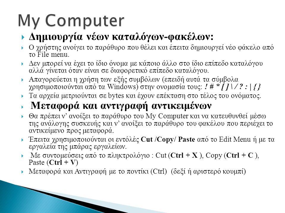  Δημιουργία νέων καταλόγων-φακέλων:  Ο χρήστης ανοίγει το παράθυρο που θέλει και έπειτα δημιουργεί νέο φάκελο από το File menu.  Δεν μπορεί να έχει