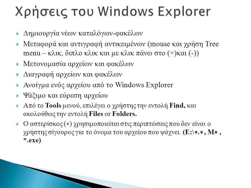  Δημιουργία νέων καταλόγων-φακέλων  Μεταφορά και αντιγραφή αντικειμένων (mouse και χρήση Tree menu – κλικ, διπλο κλικ και με κλικ πάνω στο (+)και (-))  Μετονομασία αρχείων και φακέλων  Διαγραφή αρχείων και φακέλων  Ανοίγμα ενός αρχείου από το Windows Explorer  Ψάξιμο και εύρεση αρχείου  Από το Tools μενού, επιλέγει ο χρήστης την εντολή Find, και ακολούθως την εντολή Files or Folders.