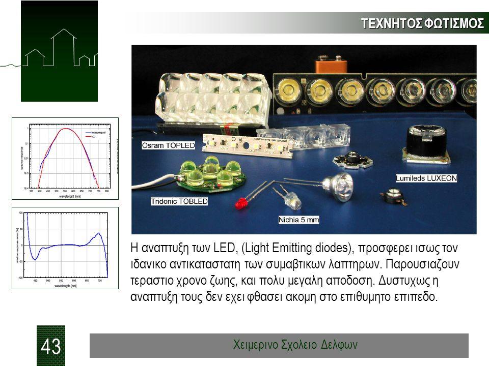 ΤΕΧΝΗΤΟΣ ΦΩΤΙΣΜΟΣ 43 Χειμερινο Σχολειο Δελφων Η αναπτυξη των LED, (Light Emitting diodes), προσφερει ισως τον ιδανικο αντικαταστατη των συμαβτικων λαπτηρων.