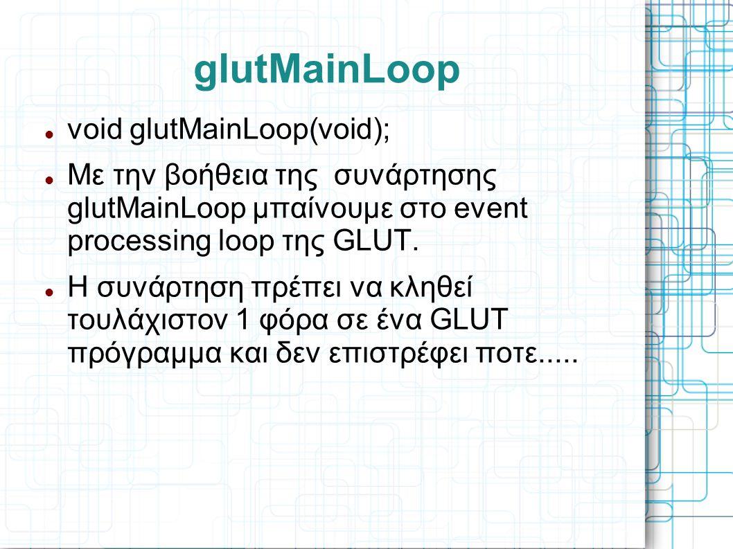 glutMainLoop  void glutMainLoop(void);  Με την βοήθεια της συνάρτησης glutMainLoop μπαίνουμε στο event processing loop της GLUT.  Η συνάρτηση πρέπε