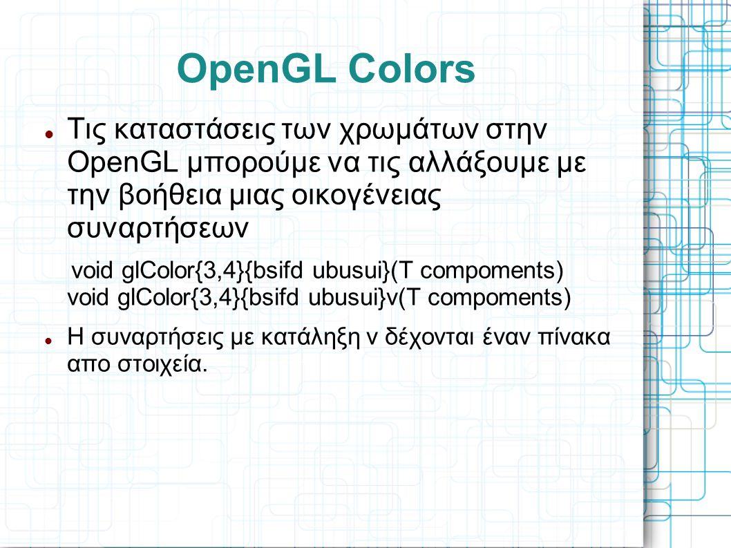 OpenGL Colors  Τις καταστάσεις των χρωμάτων στην OpenGL μπορούμε να τις αλλάξουμε με την βοήθεια μιας οικογένειας συναρτήσεων void glColor{3,4}{bsifd