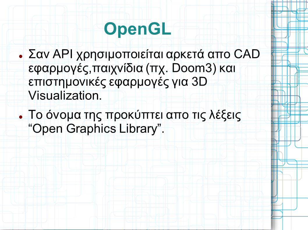 OpenGL  Σαν API χρησιμοποιείται αρκετά απο CAD εφαρμογές,παιχνίδια (πχ. Doom3) και επιστημονικές εφαρμογές για 3D Visualization.  Το όνομα της προκύ