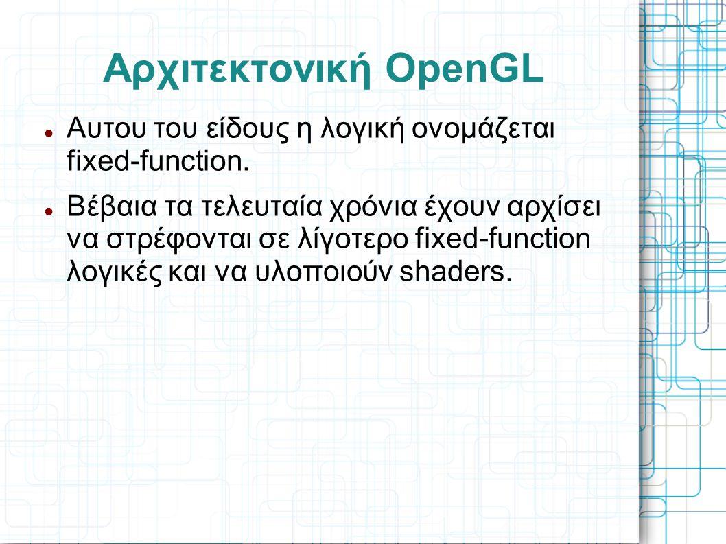 Αρχιτεκτονική OpenGL  Αυτου του είδους η λογική ονομάζεται fixed-function.  Βέβαια τα τελευταία χρόνια έχουν αρχίσει να στρέφονται σε λίγοτερο fixed