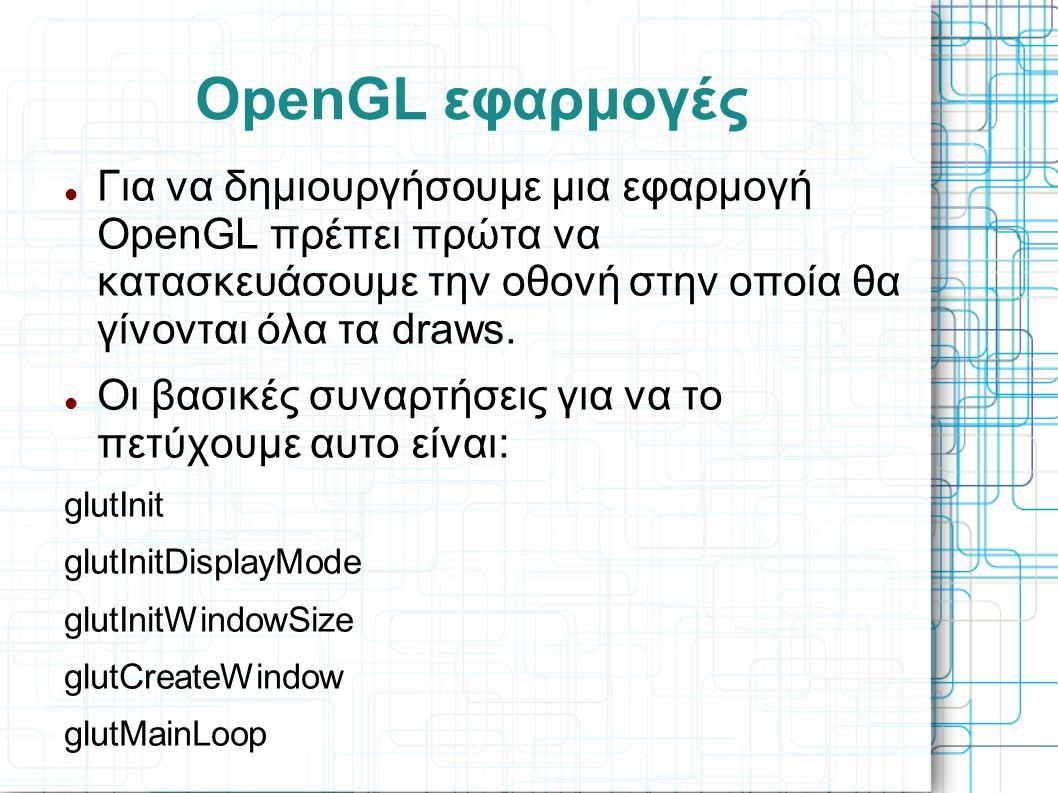 OpenGL εφαρμογές  Για να δημιουργήσουμε μια εφαρμογή OpenGL πρέπει πρώτα να κατασκευάσουμε την οθονή στην οποία θα γίνονται όλα τα draws.  Οι βασικέ