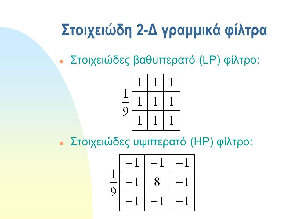 Απόκριση συχνότητας ιδανικών 2-Δ φίλτρων n Ιδανικό βαθυπερατό (LP) φίλτρο n Ιδανικό υψιπερατό (HP) φίλτρο