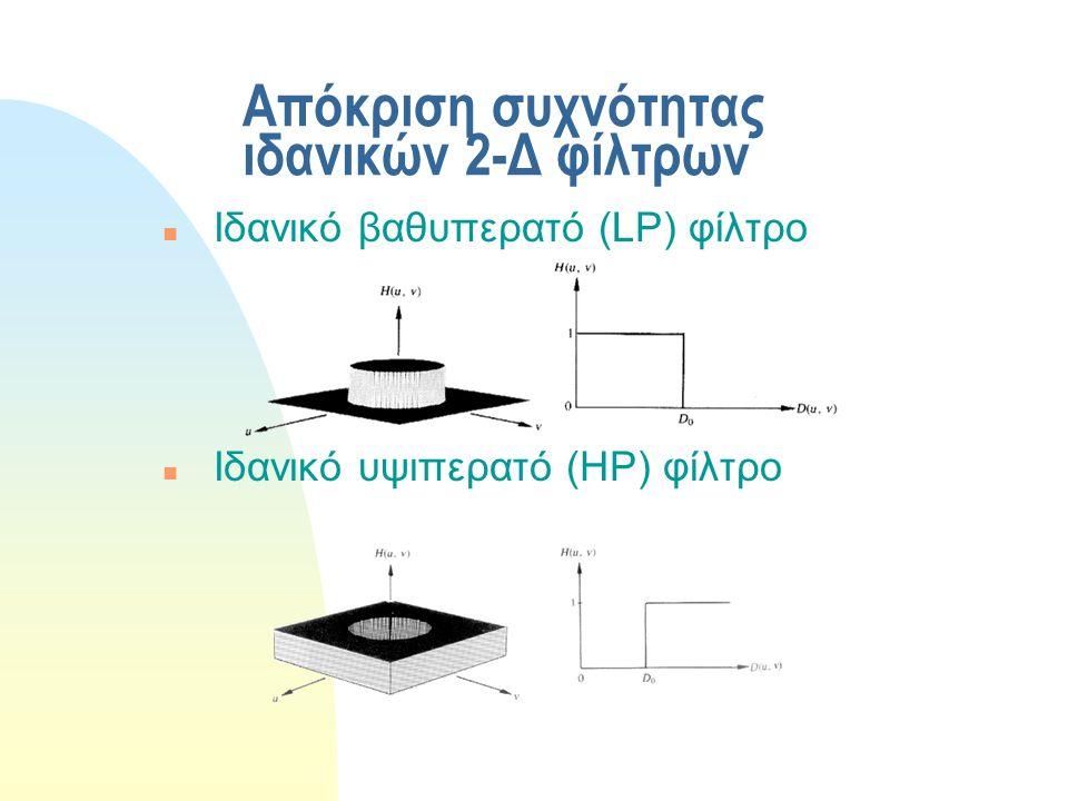 Μέθοδοι σχεδίασης 2-Δ γραμμικών FIR φίλτρων n Δειγματοληψία στο χώρο της συχνότητας (frequency sampling) n Σχεδίαση με χρήση παραθύρων (windowing) n Μετασχηματισμός συχνότητας (frequency transformation)