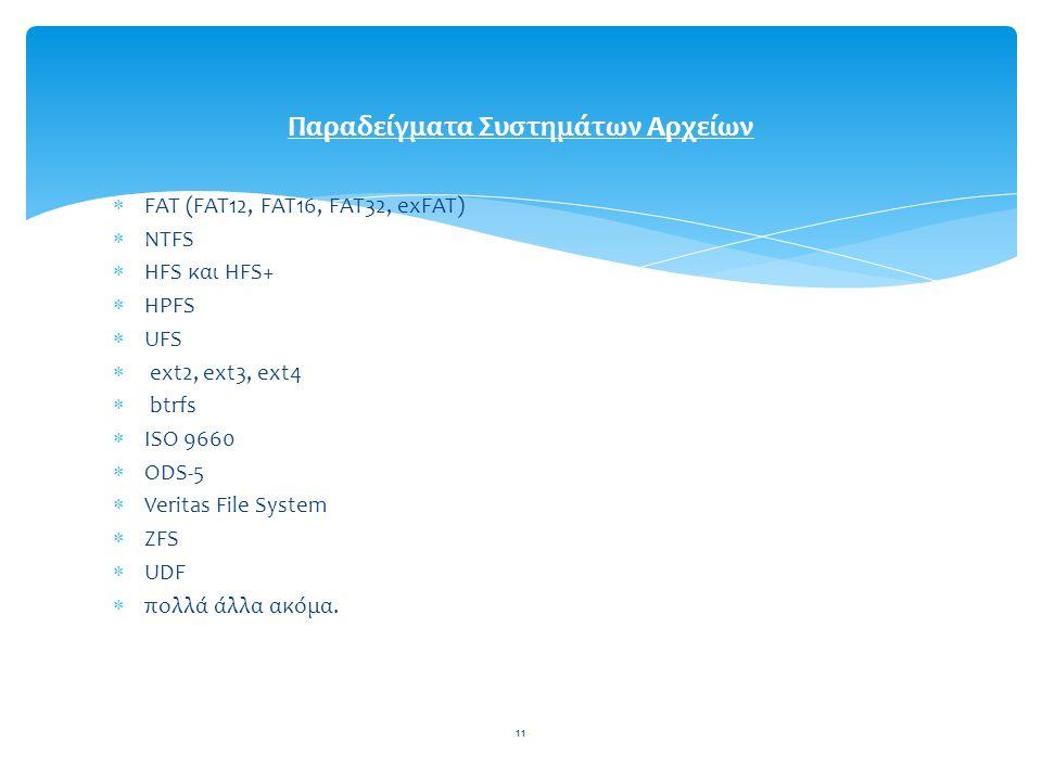 11  FAT (FAT12, FAT16, FAT32, exFAT)  NTFS  HFS και HFS+  HPFS  UFS  ext2, ext3, ext4  btrfs  ISO 9660  ODS-5  Veritas File System  ZFS  UDF  πολλά άλλα ακόμα.