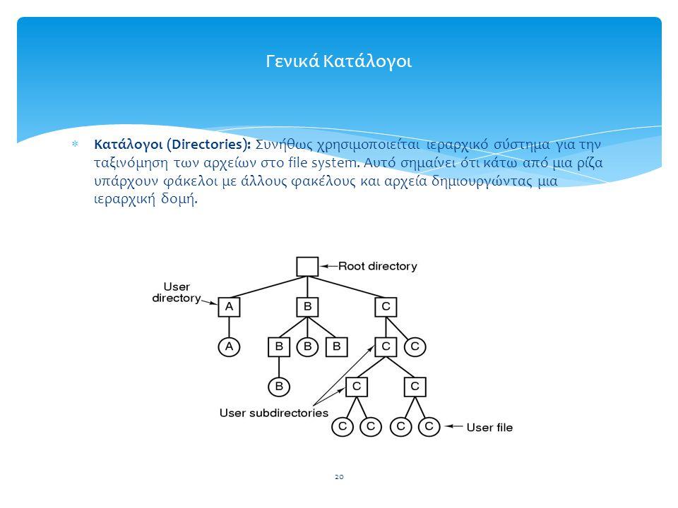 20 Γενικά Κατάλογοι  Κατάλογοι (Directories): Συνήθως χρησιμοποιείται ιεραρχικό σύστημα για την ταξινόμηση των αρχείων στο file system.