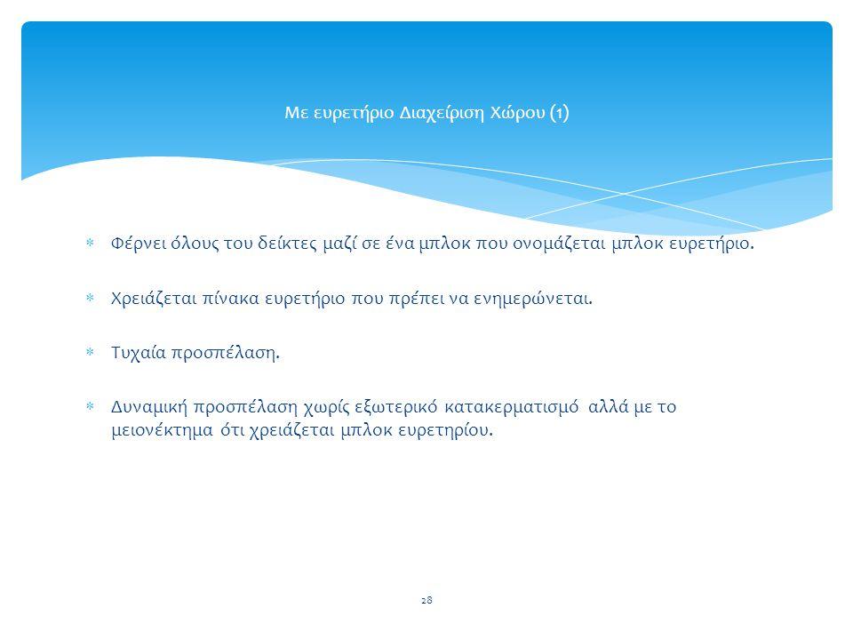 28 Με ευρετήριο Διαχείριση Χώρου (1)  Φέρνει όλους του δείκτες μαζί σε ένα μπλοκ που ονομάζεται μπλοκ ευρετήριο.
