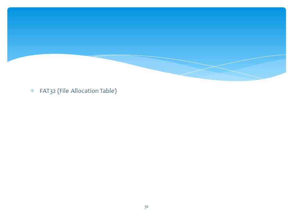 32  FAT32 (File Allocation Table)