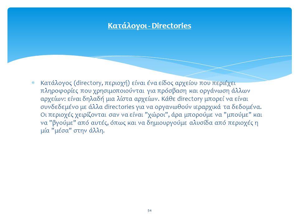 54  Κατάλογος (directory, περιοχή) είναι ένα είδος αρχείου που περιέχει πληροφορίες που χρησιμοποιούνται για πρόσβαση και οργάνωση άλλων αρχείων: είναι δηλαδή μια λίστα αρχείων.