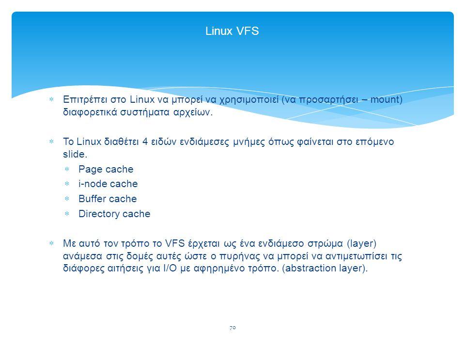 70 Linux VFS  Επιτρέπει στο Linux να μπορεί να χρησιμοποιεί (να προσαρτήσει – mount) διαφορετικά συστήματα αρχείων.