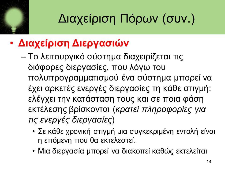 14 Διαχείριση Πόρων (συν.) •Διαχείριση Διεργασιών –Το λειτουργικό σύστημα διαχειρίζεται τις διάφορες διεργασίες, που λόγω του πολυπρογραμματισμού ένα