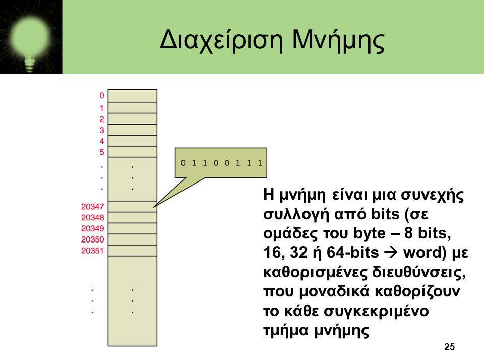 25 Η μνήμη είναι μια συνεχής συλλογή από bits (σε ομάδες του byte – 8 bits, 16, 32 ή 64-bits  word) με καθορισμένες διευθύνσεις, που μοναδικά καθορίζ