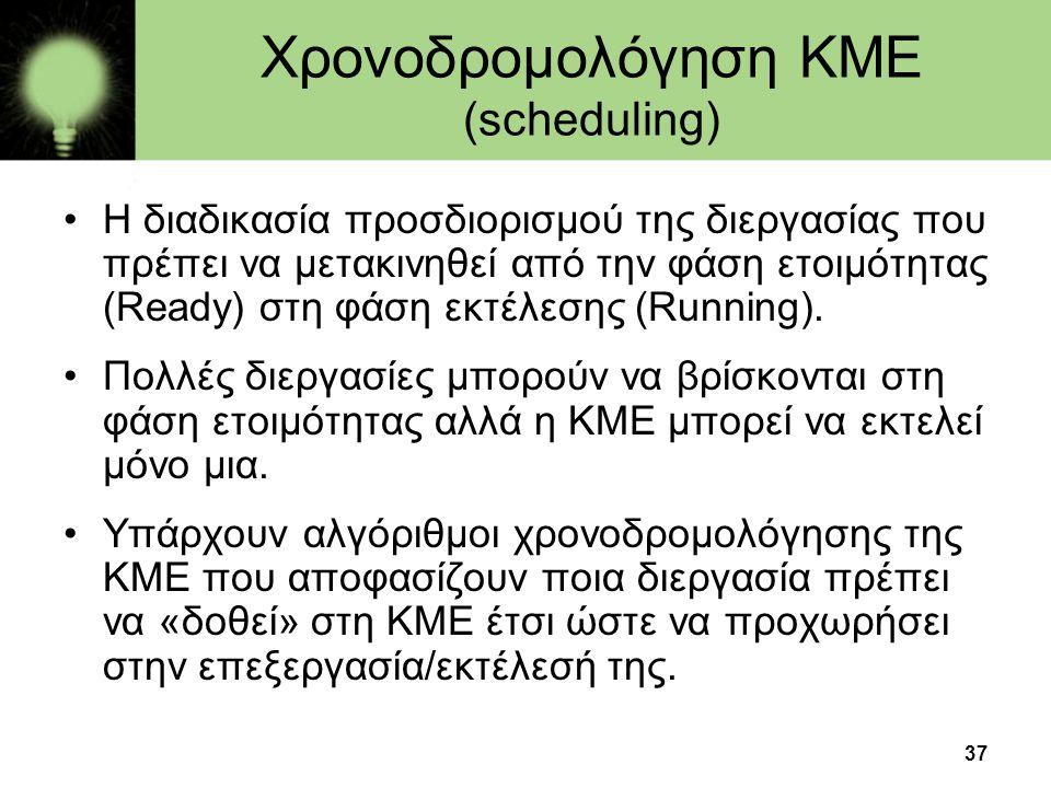 37 Χρονοδρομολόγηση ΚΜΕ (scheduling) •Η διαδικασία προσδιορισμού της διεργασίας που πρέπει να μετακινηθεί από την φάση ετοιμότητας (Ready) στη φάση εκ