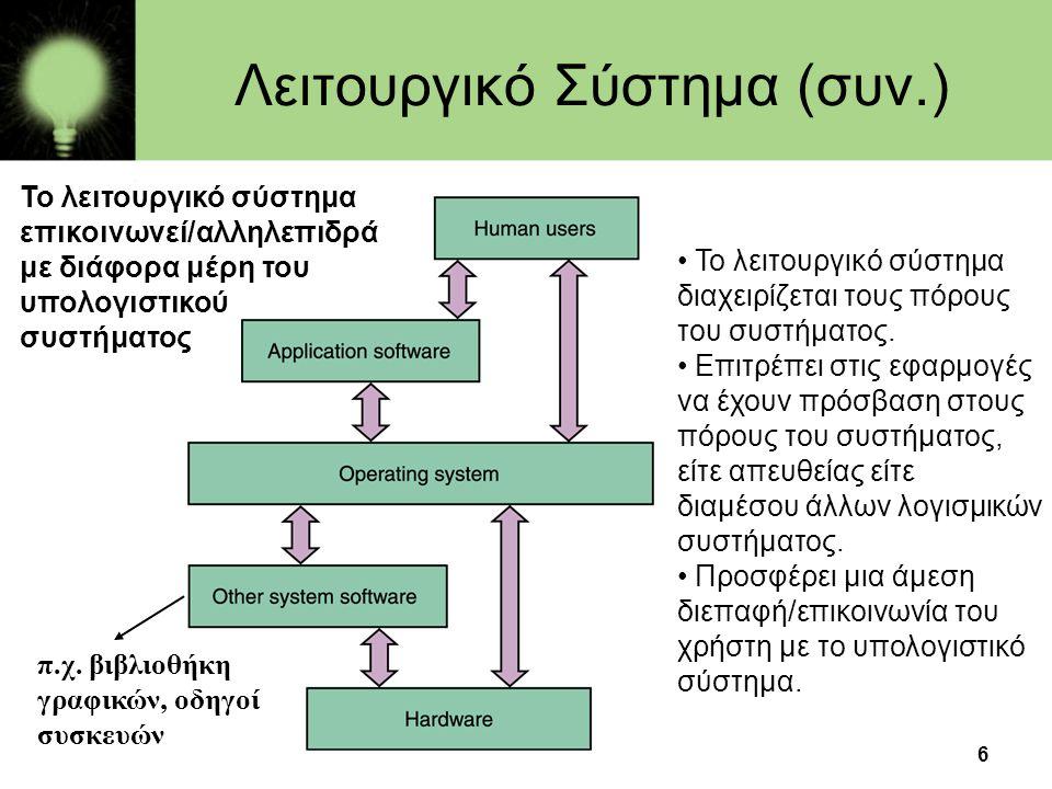 6 Λειτουργικό Σύστημα (συν.) • Το λειτουργικό σύστημα διαχειρίζεται τους πόρους του συστήματος. • Επιτρέπει στις εφαρμογές να έχουν πρόσβαση στους πόρ