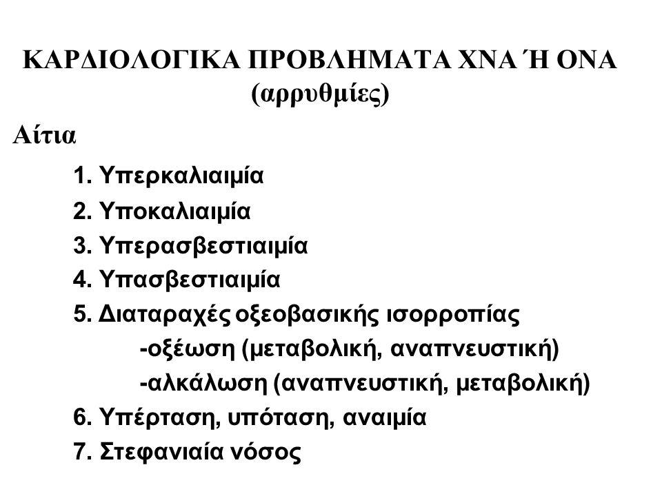 ΚΑΡΔΙΟΛΟΓΙΚΑ ΠΡΟΒΛΗΜΑΤΑ ΧΝΑ Ή ΟΝΑ (αρρυθμίες) Αίτια 1. Υπερκαλιαιμία 2. Υποκαλιαιμία 3. Υπερασβεστιαιμία 4. Υπασβεστιαιμία 5. Διαταραχές οξεοβασικής ι