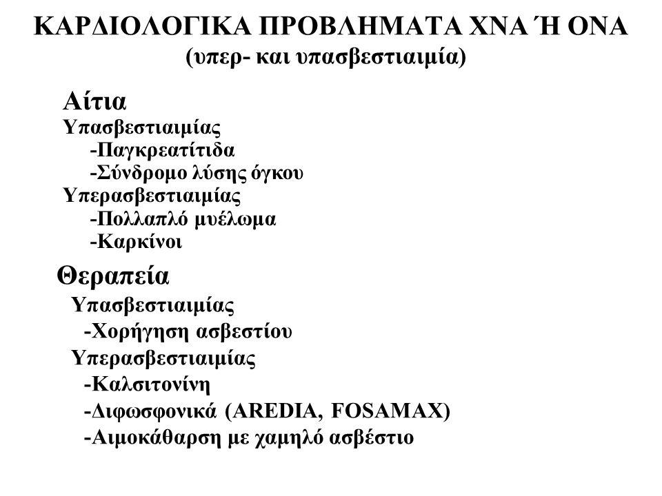 ΚΑΡΔΙΟΛΟΓΙΚΑ ΠΡΟΒΛΗΜΑΤΑ ΧΝΑ Ή ΟΝΑ (υπερ- και υπασβεστιαιμία) Αίτια Υπασβεστιαιμίας -Παγκρεατίτιδα -Σύνδρομο λύσης όγκου Υπερασβεστιαιμίας -Πολλαπλό μυ