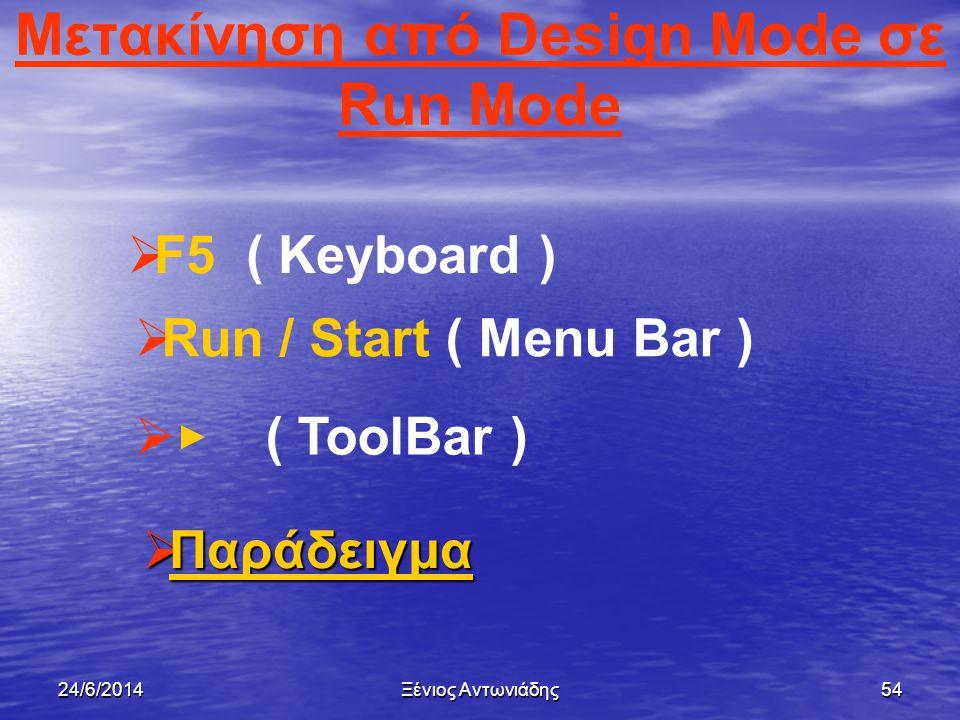 24/6/2014Ξένιος Αντωνιάδης53 Κατάσταση εκτέλεσης έργου - Run Mode   Είναι το περιβάλλον της Visual Basic στο οποίο εκτελείται το έργο από το χρήστη.