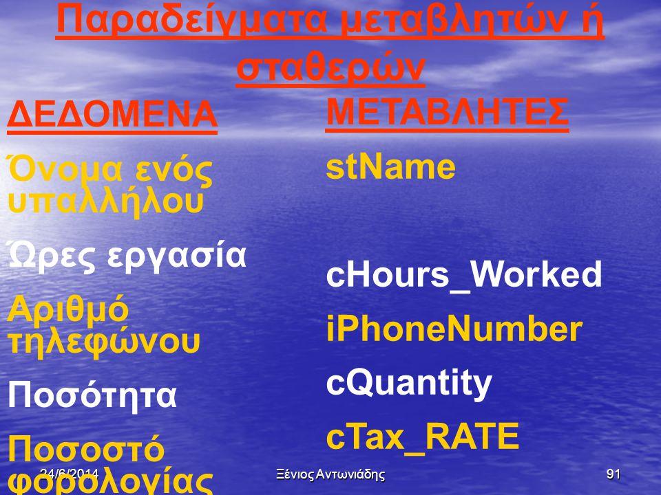 24/6/2014Ξένιος Αντωνιάδης90  Το πρώτο γράμμα αρχίζει με συντομογραφία του τύπου δεδομένων  Το όνομα μιας μεταβλητής ή σταθεράς καλό είναι να υποδηλ