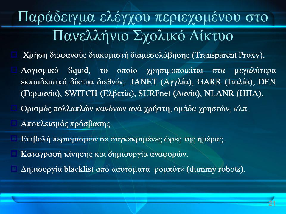 Παράδειγμα ελέγχου περιεχομένου στο Πανελλήνιο Σχολικό Δίκτυο  Χρήση διαφανούς διακομιστή διαμεσολάβησης (Transparent Proxy).  Λογισμικό Squid, το ο