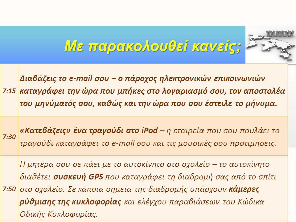 ft Με παρακολουθεί κανείς; 7:15 Διαβάζεις το e-mail σου – ο πάροχος ηλεκτρονικών επικοινωνιών καταγράφει την ώρα που μπήκες στο λογαριασμό σου, τον απ