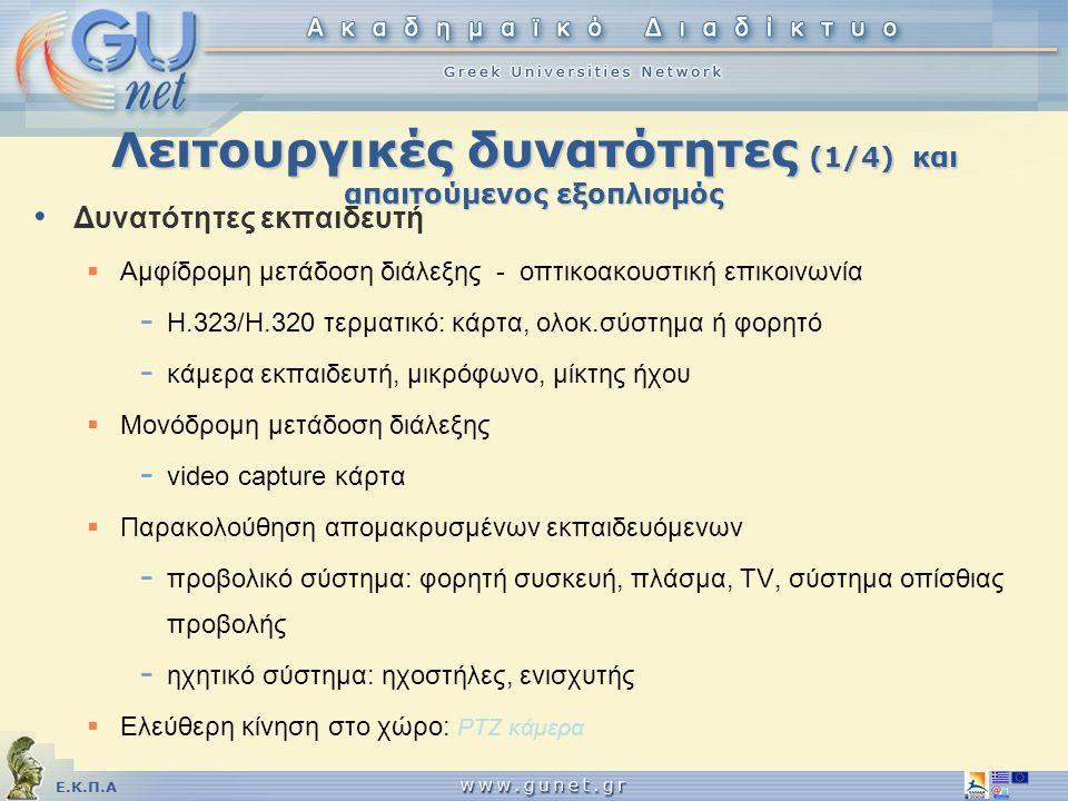 Ε.Κ.Π.Α Λειτουργικές δυνατότητες (1/4) και απαιτούμενος εξοπλισμός • Δυνατότητες εκπαιδευτή  Αμφίδρομη μετάδοση διάλεξης - οπτικοακουστική επικοινωνί