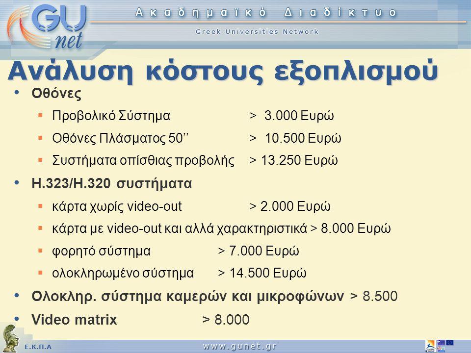 Ε.Κ.Π.Α Ανάλυση κόστους εξοπλισμού • Οθόνες  Προβολικό Σύστημα > 3.000 Ευρώ  Οθόνες Πλάσματος 50''> 10.500 Ευρώ  Συστήματα οπίσθιας προβολής > 13.2