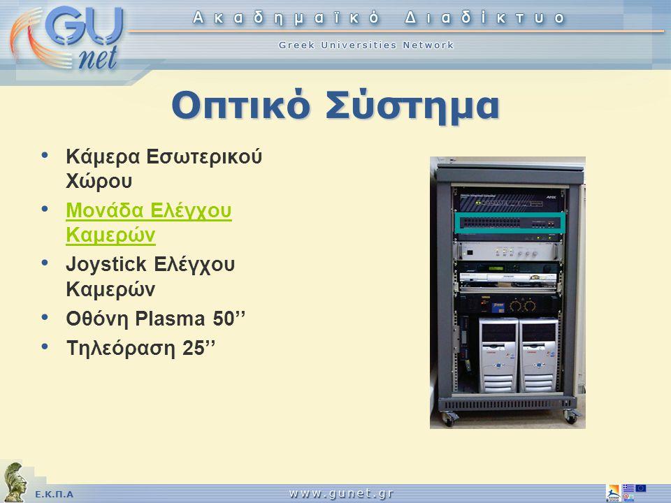 Ε.Κ.Π.Α Οπτικό Σύστημα • Κάμερα Εσωτερικού Χώρου • Μονάδα Ελέγχου Καμερών • Joystick Ελέγχου Καμερών • Οθόνη Plasma 50'' • Τηλεόραση 25''