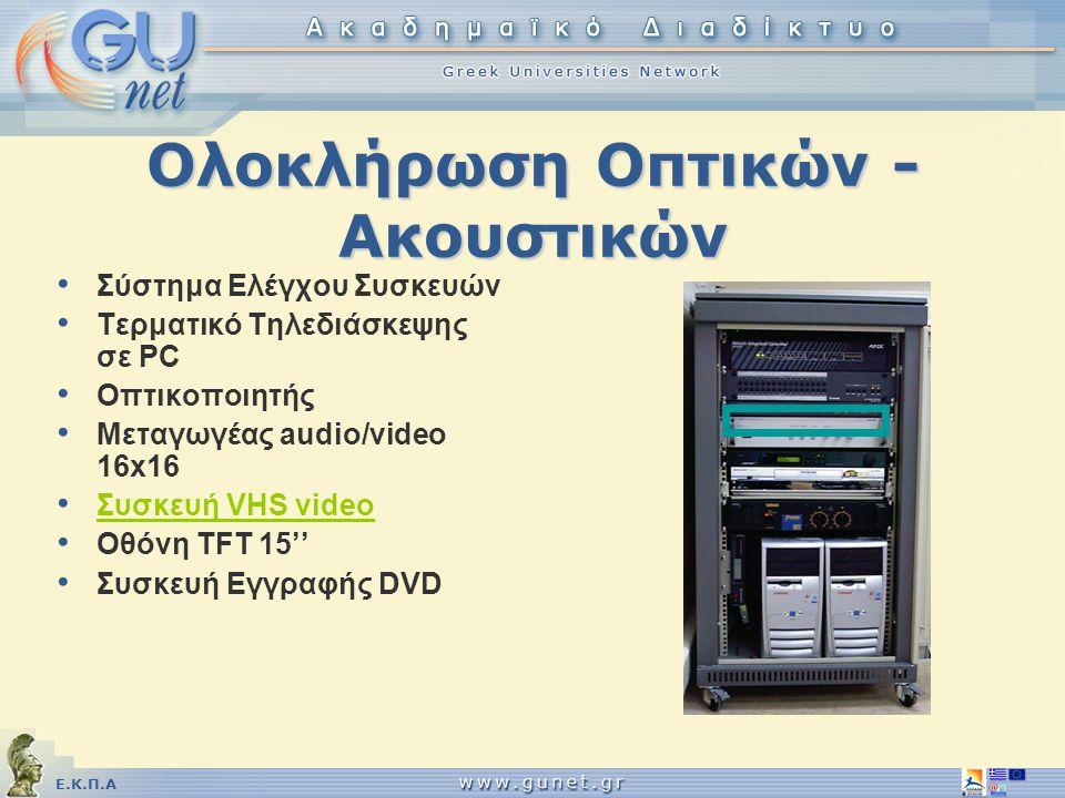 Ε.Κ.Π.Α Ολοκλήρωση Οπτικών - Ακουστικών • Σύστημα Ελέγχου Συσκευών • Τερματικό Τηλεδιάσκεψης σε PC • Οπτικοποιητής • Μεταγωγέας audio/video 16x16 • Συ
