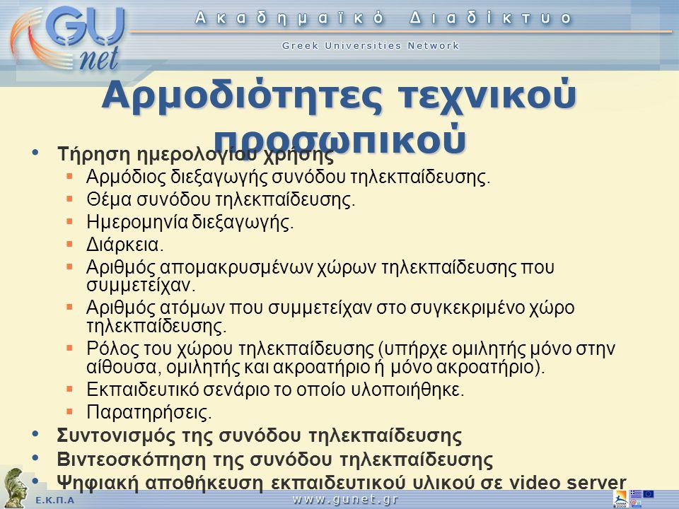 Ε.Κ.Π.Α Αρμοδιότητες τεχνικού προσωπικού • Τήρηση ημερολογίου χρήσης  Αρμόδιος διεξαγωγής συνόδου τηλεκπαίδευσης.  Θέμα συνόδου τηλεκπαίδευσης.  Ημ