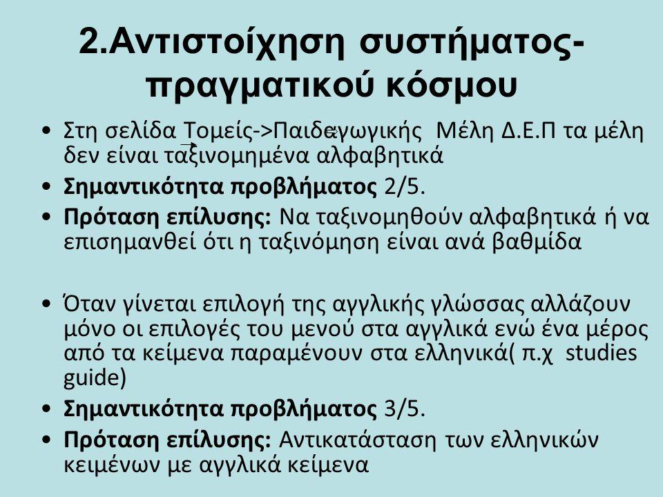 2.Αντιστοίχηση συστήματος- πραγματικού κόσμου •Σημαντικός αριθμός ιστοσελίδων στα Αγγλικά και στα Γαλλικά εμφανίζονται κενές ή εμφανίζουν περιεχόμενο στα Ελληνικά.