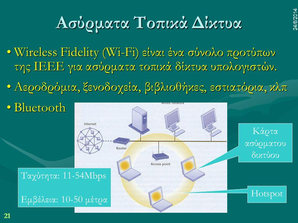 21 24/6/2014 dr.pp mim 21 24/6/2014 Ασύρματα Τοπικά Δίκτυα •Wireless Fidelity (Wi-Fi) είναι ένα σύνολο προτύπων της IEEE για ασύρματα τοπικά δίκτυα υπολογιστών.
