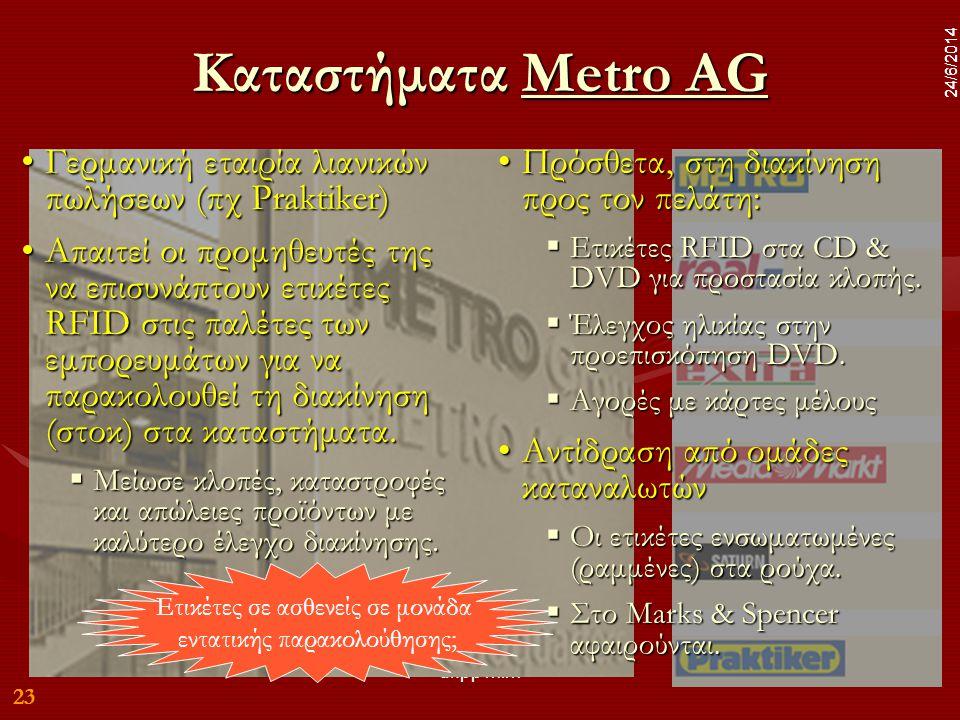 23 24/6/2014 dr.pp mim 23 24/6/2014 Καταστήματα Metro AG Metro AGMetro AG •Γερμανική εταιρία λιανικών πωλήσεων (πχ Praktiker) •Απαιτεί οι προμηθευτές της να επισυνάπτουν ετικέτες RFID στις παλέτες των εμπορευμάτων για να παρακολουθεί τη διακίνηση (στοκ) στα καταστήματα.