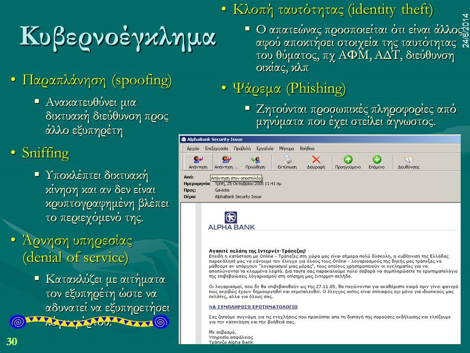 30 24/6/2014 dr.pp mim 30 24/6/2014 Κυβερνοέγκλημα •Παραπλάνηση (spoofing)  Ανακατευθύνει μια δικτυακή διεύθυνση προς άλλο εξυπηρέτη •Sniffing  Υποκλέπτει δικτυακή κίνηση και αν δεν είναι κρυπτογραφημένη βλέπει το περιεχόμενό της.