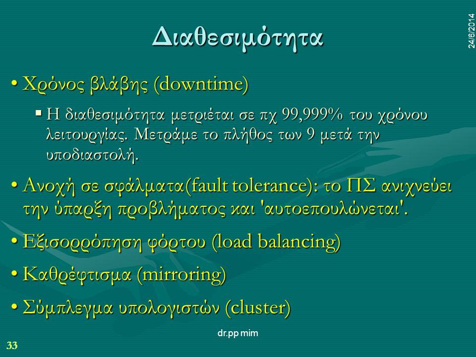 33 24/6/2014 dr.pp mim 33 24/6/2014 Διαθεσιμότητα •Χρόνος βλάβης (downtime)  Η διαθεσιμότητα μετριέται σε πχ 99,999% του χρόνου λειτουργίας.