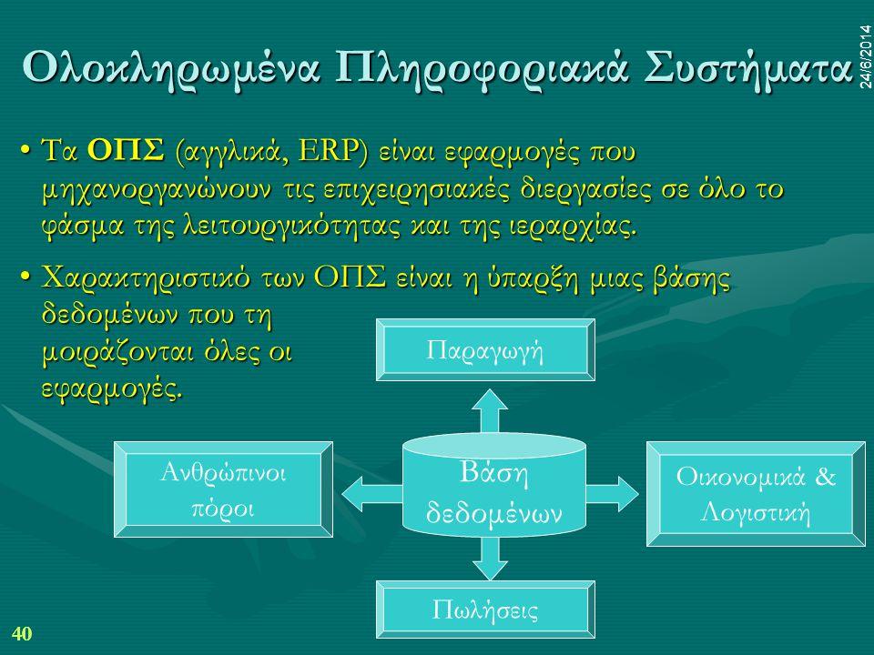 40 24/6/2014 dr.pp mim 40 24/6/2014 Ολοκληρωμένα Πληροφοριακά Συστήματα •Τα ΟΠΣ (αγγλικά, ERP) είναι εφαρμογές που μηχανοργανώνουν τις επιχειρησιακές διεργασίες σε όλο το φάσμα της λειτουργικότητας και της ιεραρχίας.