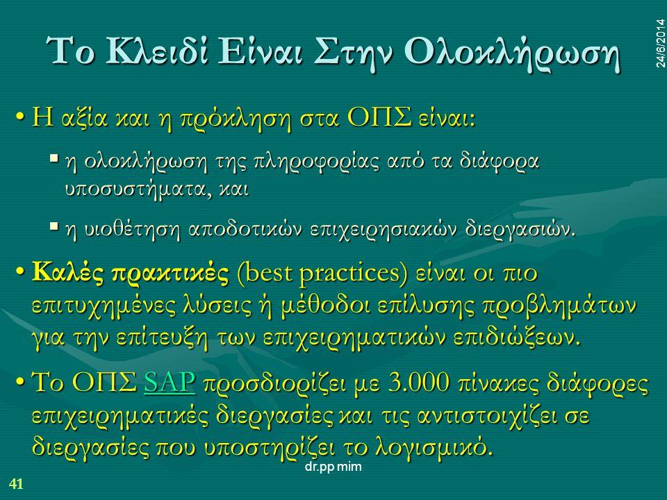 41 24/6/2014 dr.pp mim 41 24/6/2014 Το Κλειδί Είναι Στην Ολοκλήρωση •Η αξία και η πρόκληση στα ΟΠΣ είναι:  η ολοκλήρωση της πληροφορίας από τα διάφορα υποσυστήματα, και  η υιοθέτηση αποδοτικών επιχειρησιακών διεργασιών.