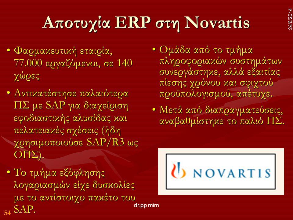 54 24/6/2014 dr.pp mim 54 24/6/2014 Αποτυχία ERP στη Novartis •Φαρμακευτική εταιρία, 77.000 εργαζόμενοι, σε 140 χώρες •Αντικατέστησε παλαιότερα ΠΣ με SAP για διαχείριση εφοδιαστικής αλυσίδας και πελατειακές σχέσεις (ήδη χρησιμοποιούσε SAP/R3 ως ΟΠΣ).